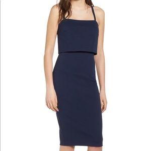 Soprano Popover Midi Body-Con Dress- Navy